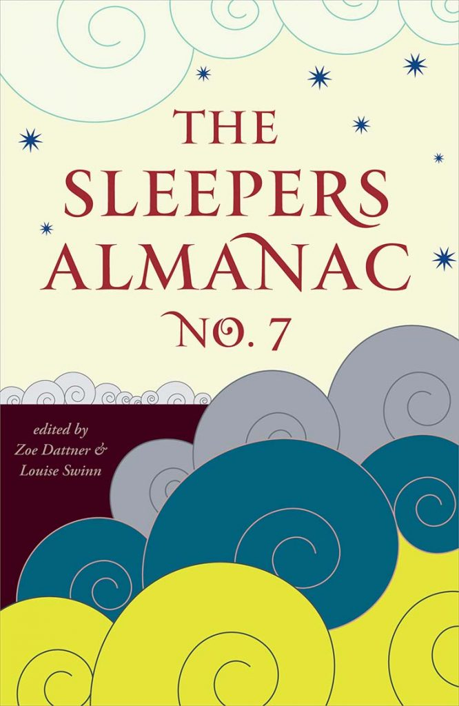 cover of sleepers almanac no 7 with illustrations of layered clouds and stars